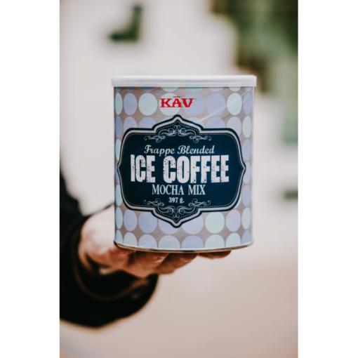 Iskaffe pulver mocca i handen|kaffe-rep.se